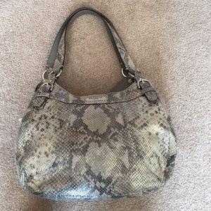 Coach Python Print Leather Hobo Bag Purse.